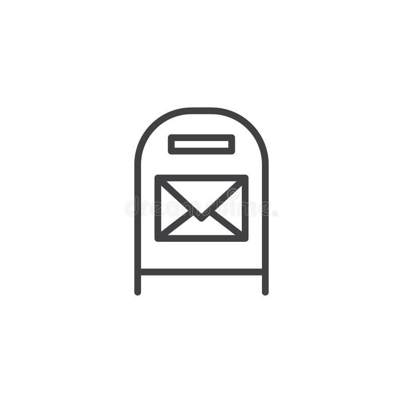 Postbus met het pictogram van het berichtoverzicht vector illustratie