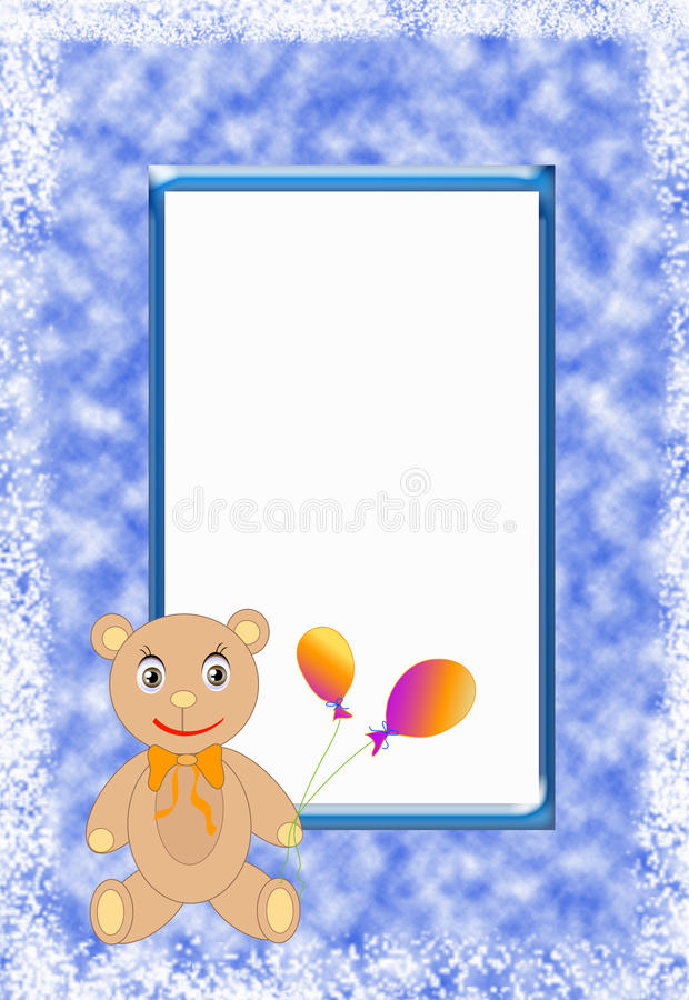 Postcard. Blue frame with brown bear and keeps the colors balloons, white frame for text vector illustration