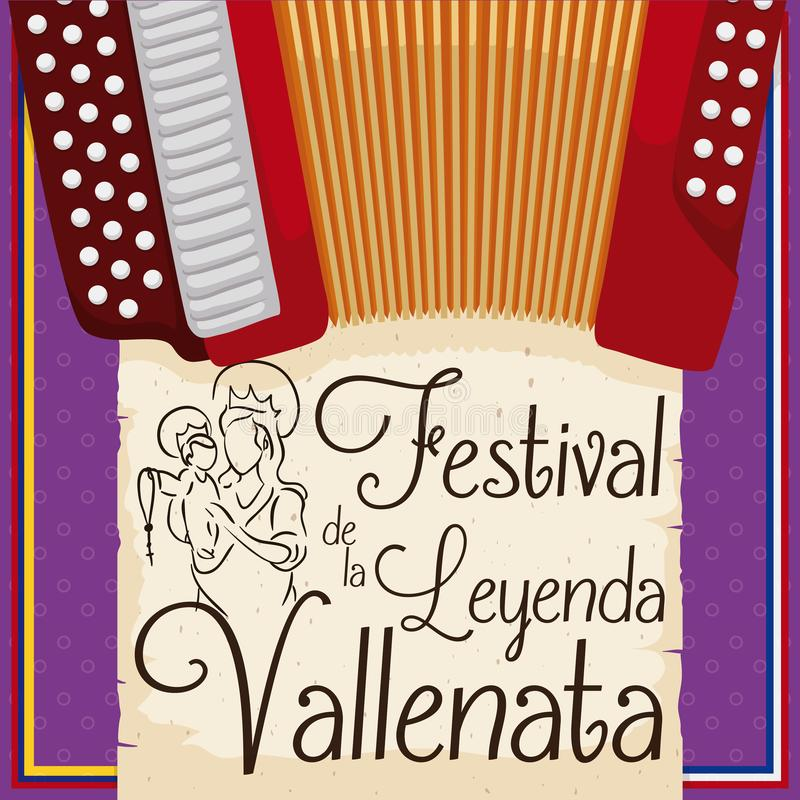 Accordion and Lady of the Rosary for Vallenato Legend Festival, Vector Illustration. Postcard with accordion and greeting scroll with the draw of the Lady of the stock illustration