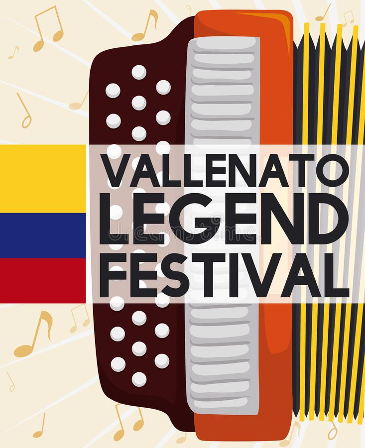 Accordion, Music Notes, and Colombian Flag for Vallenato Legend Festival, Vector Illustration. Postcard with accordion over musical notes background and label stock illustration