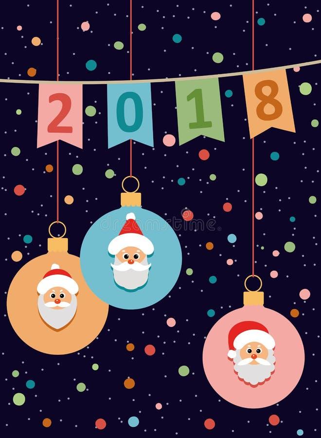2018 postcard Ano novo feliz e Natal Vetor ilustração royalty free