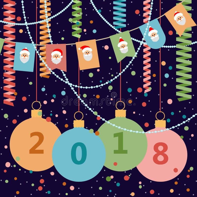2018 postcard Ano novo feliz e Natal Vetor Illustratio ilustração do vetor
