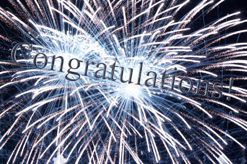 Congratulations message with 3d reflecting text stock illustration