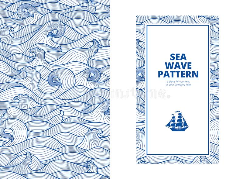 Postcard banner monotone blue sea waves and the ship stock images