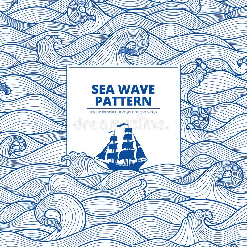 Postcard banner sea waves and ship stock images
