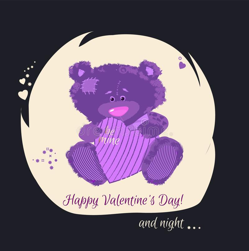 Postcard with a bear cub. A small bear is a toy. Valentine`s Day is a holiday letter. Heart and bear cartoon and cute images, imi. Tation stitched from cloth royalty free illustration