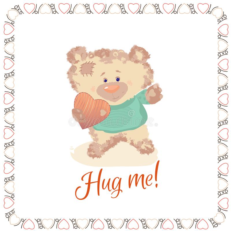 A small bear is a toy. Valentine`s Day is a holiday letter. Heart and bear cartoon and cute images, imitation stitched from cloth. Postcard with a bear cub. A royalty free illustration