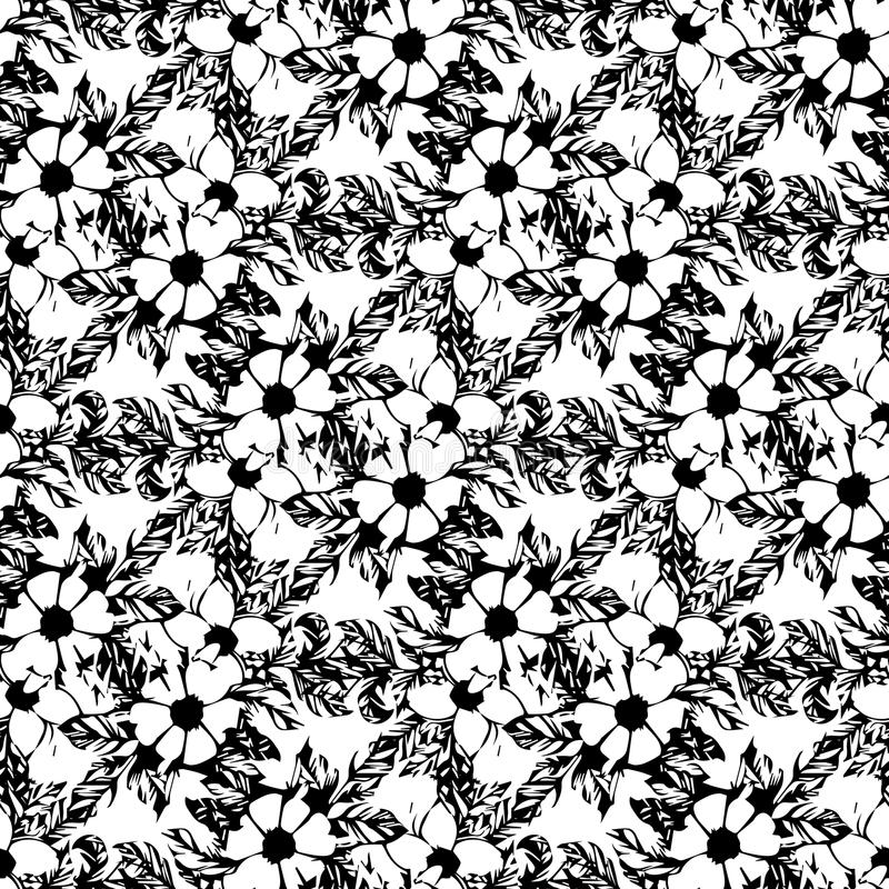 Postcard with branches and leaves. Stylish and modern postcard. Seamless pattern with black-and-white flowers of apple stock images