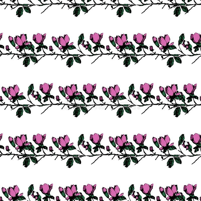 Postcard with branches and leaves. Stylish and modern postcard. Seamless pattern with pink magnolia flowers royalty free stock image