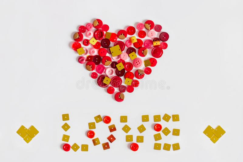Postcard from the buttons for St. Valentine`s Day. stock image