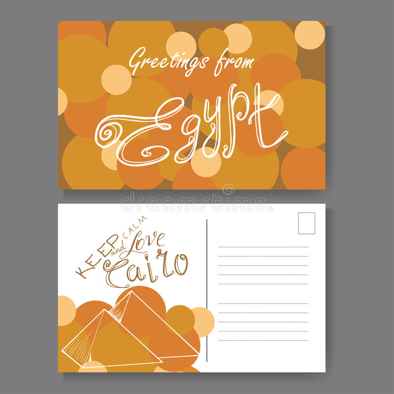Postcard from Cairo. Hand drawn lettering and sketch. Greetings from Egypt. Vector illestration royalty free illustration