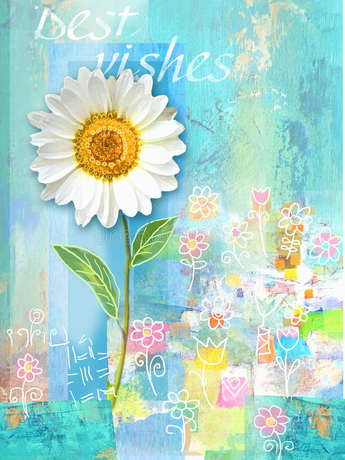 Postcard with chamomile. Congratulations card with beautiful spring flower. Can be used as greeting card, invitation for wedding, royalty free illustration