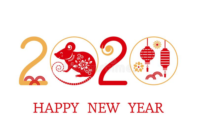 Postcard with the Chinese New Year 2020 rat on the astrological calendar. flat isolated vector stock images