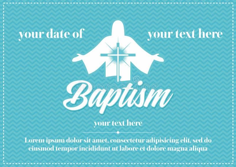 Postcard Christian baptism. Invitation congratulation certificate.  stock illustration