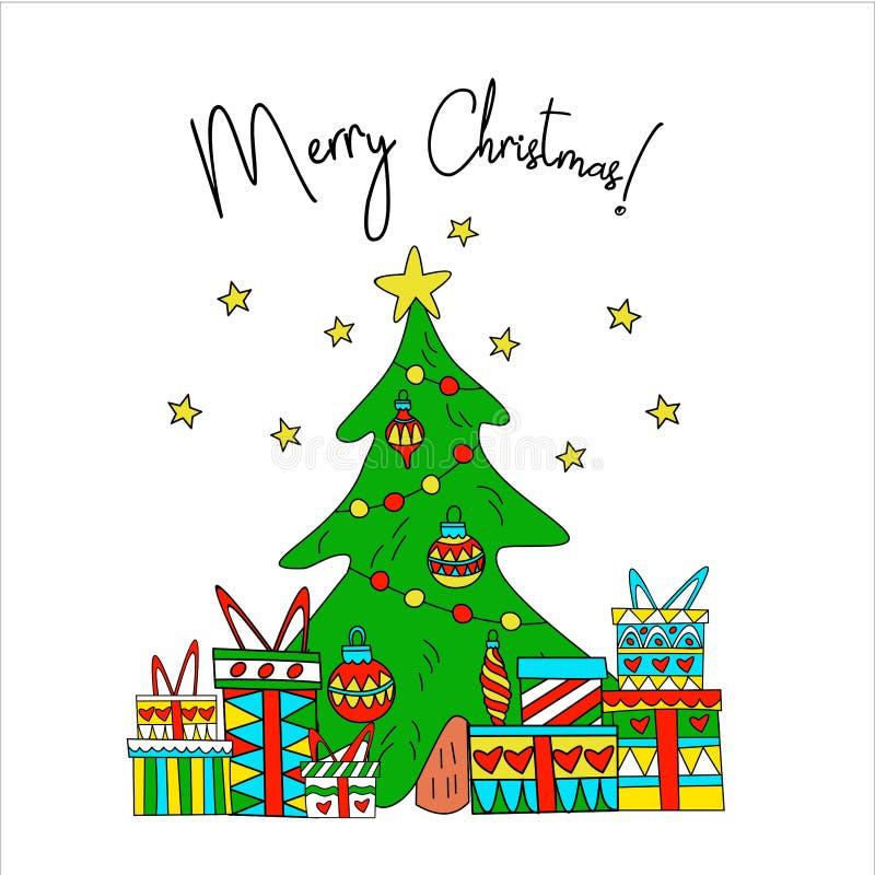 Postcard Christmas. Christmas presents under the tree. royalty free illustration