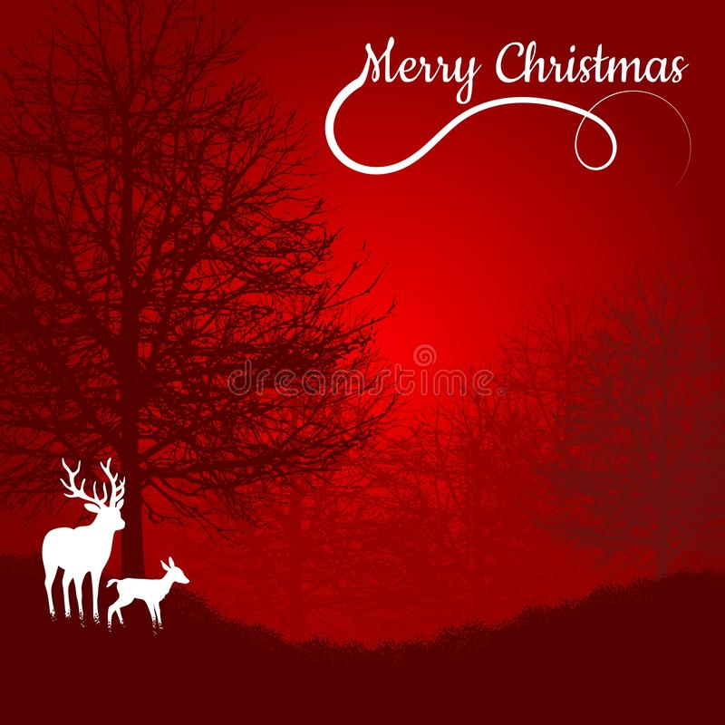 Postcard with Christmas theme. Minimalist style with silhouettes of foliage-free trees and white deer. Red background. Digital art stock image