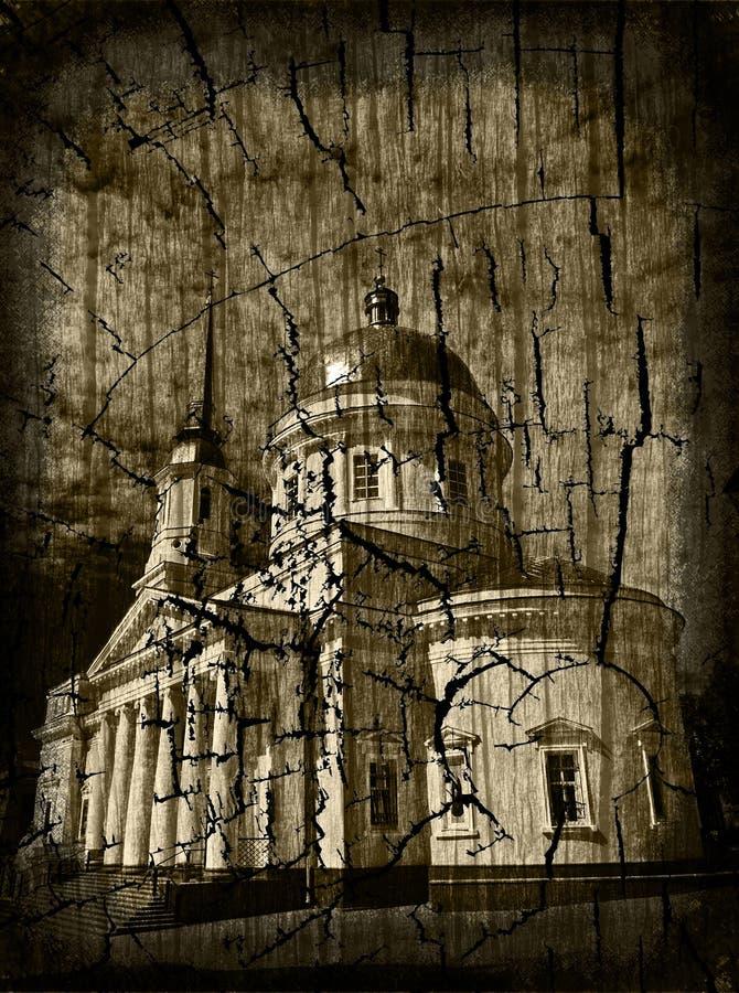 Postcard - church royalty free stock photo