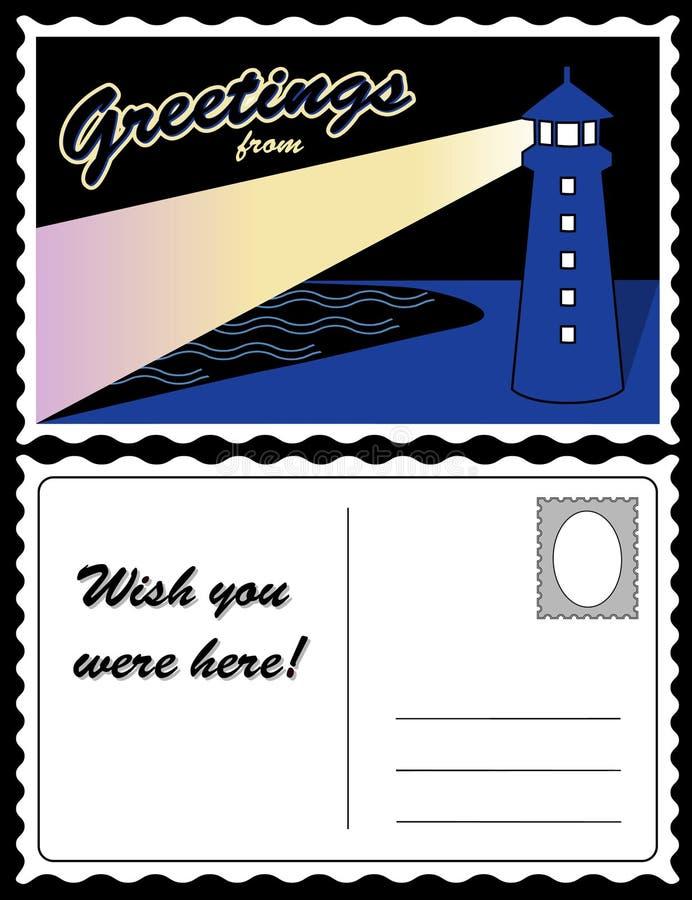 Postcard, Coast Lighthouse Landscape Stock Photos
