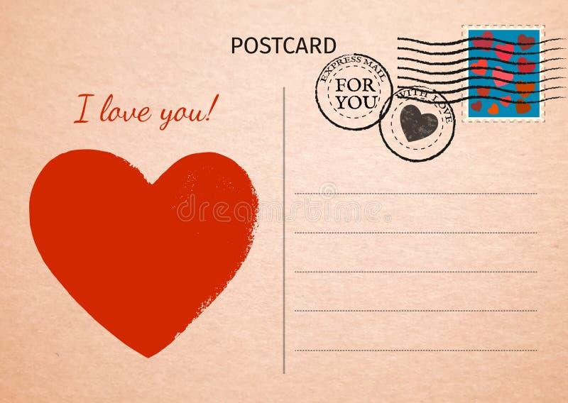 postcard Coeur et mots rouges je t'aime Illustrati de carte postale illustration libre de droits