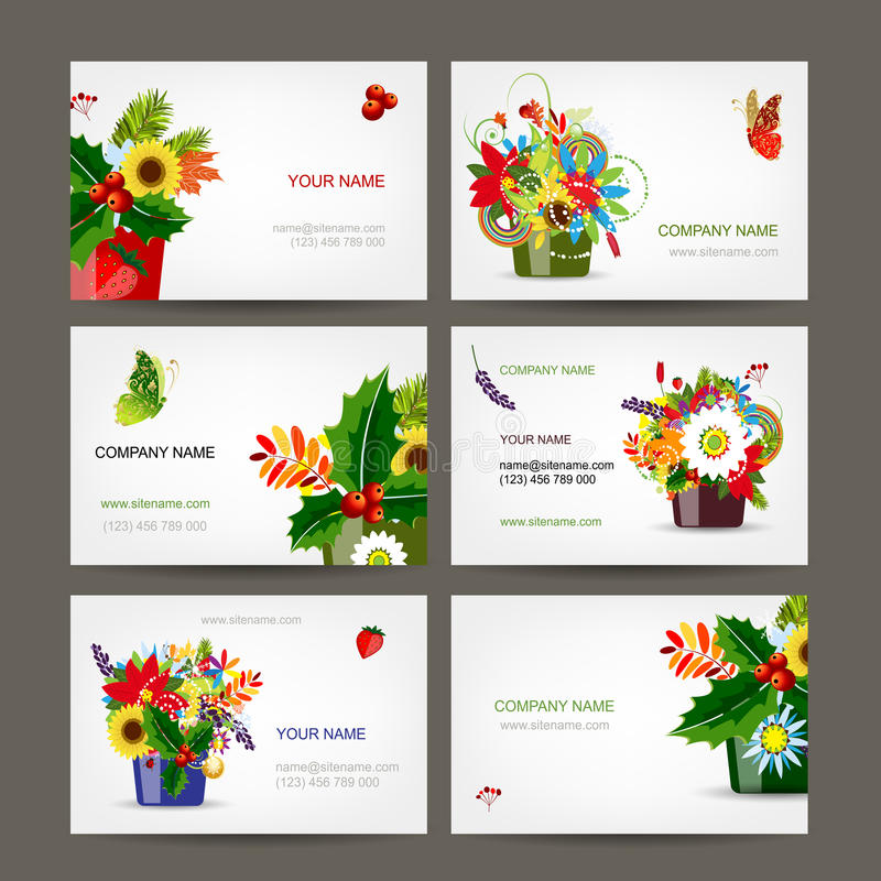 Download Postcard Collection With Floral Pots For Your Stock Vector - Image: 33111977