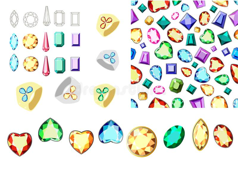 Multicolored gems. Set of multicolored gemstones. Seamless pattern with diamonds. Rim for gems. Postcard with colorful gems. A set of diamonds. Pattern of vector illustration