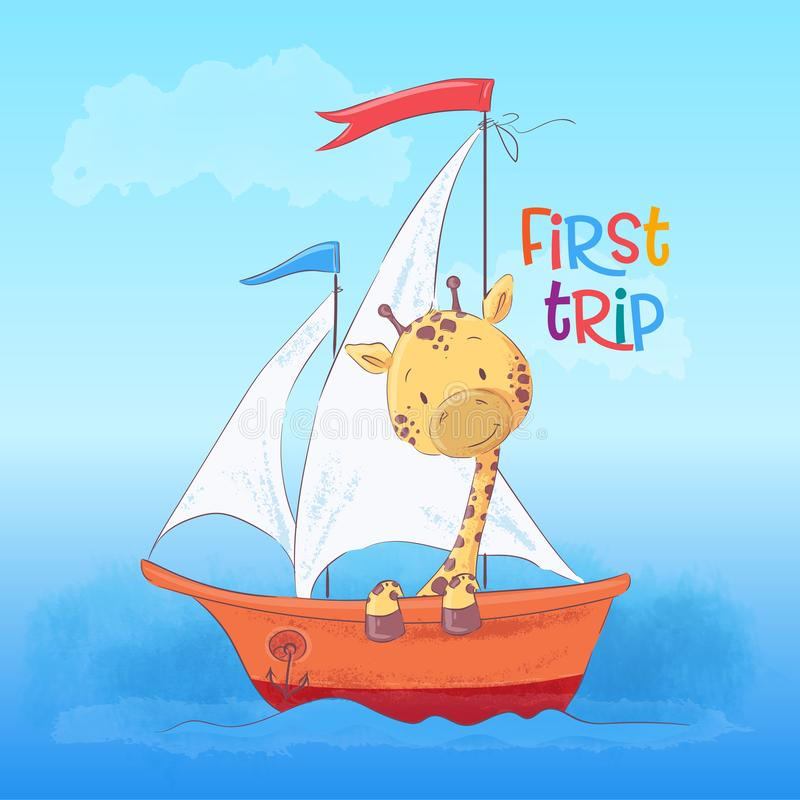 Postcard cute giraffe floating on the boat. royalty free illustration