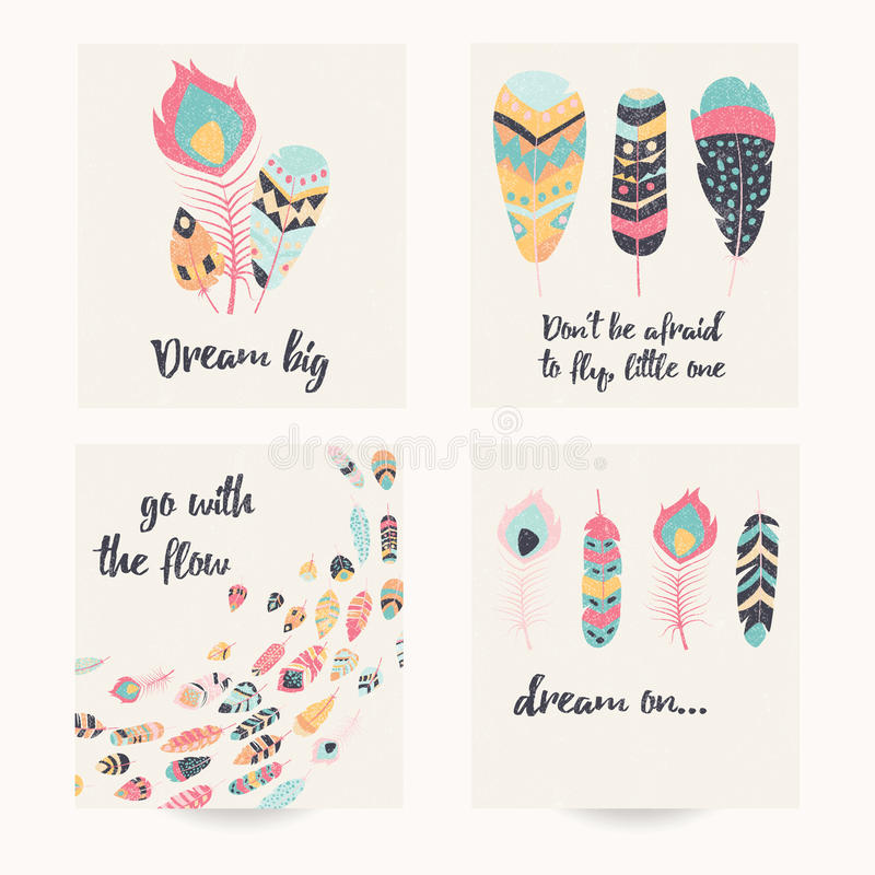 Postcard design with inspirational quote and bohemian colorful feathers vector illustration