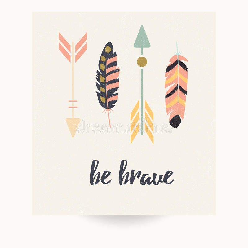 Postcard design with inspirational quote and bohemian colorful feathers stock illustration