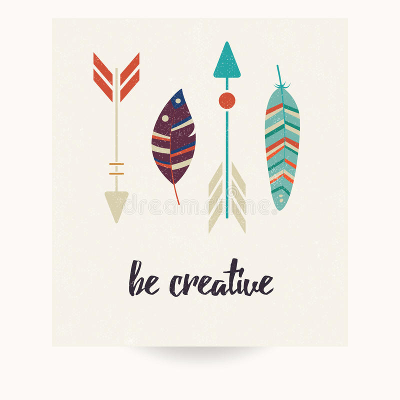 Postcard design with inspirational quote and bohemian colorful feathers royalty free illustration