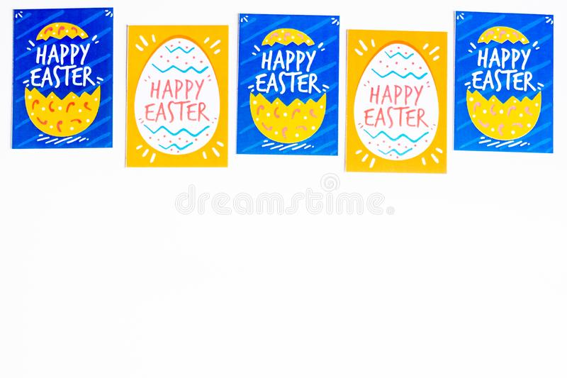 Postcard with easter printables isolated on white background, top view. Image with copy space. Easter background stock illustration