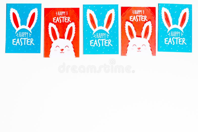 Postcard with easter printables isolated on white background, top view. Image with copy space. Easter background royalty free illustration