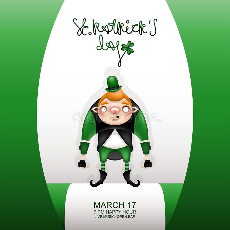 Gretting green card and young gnome royalty free illustration
