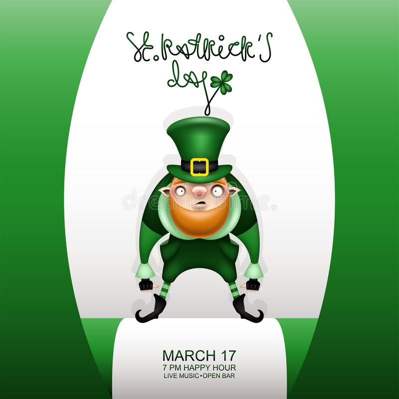 Gretting green card and gnome in a patricks green hat vector illustration