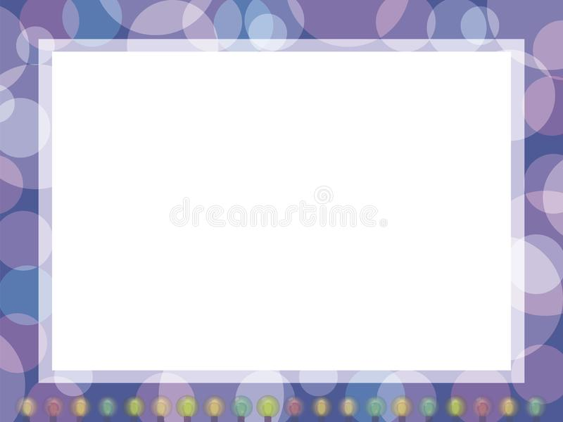 Postcard framed with a multicolored garland of lanterns with a white middle vector on a purple background vector illustration