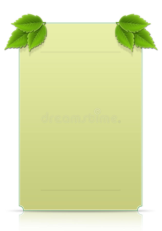 Postcard with green leaves stock illustration