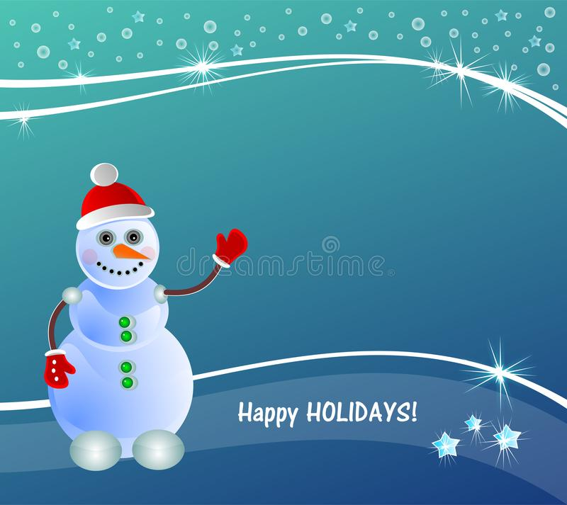 winter & christmas illustration teal. Happy holidays with snowman. New, 2019 stock illustration