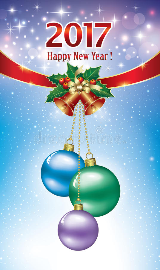 Postcard Happy New Year 2017 with balls and bells vector illustration
