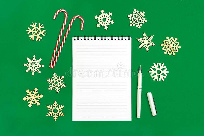 Postcard Happy New Year Flat lay composition with scroll and Christmas decor royalty free stock images
