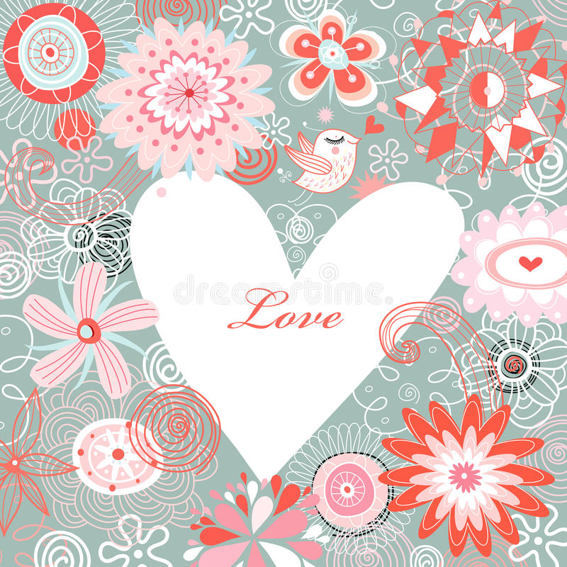 Postcard Happy Valentine's Day vector illustration