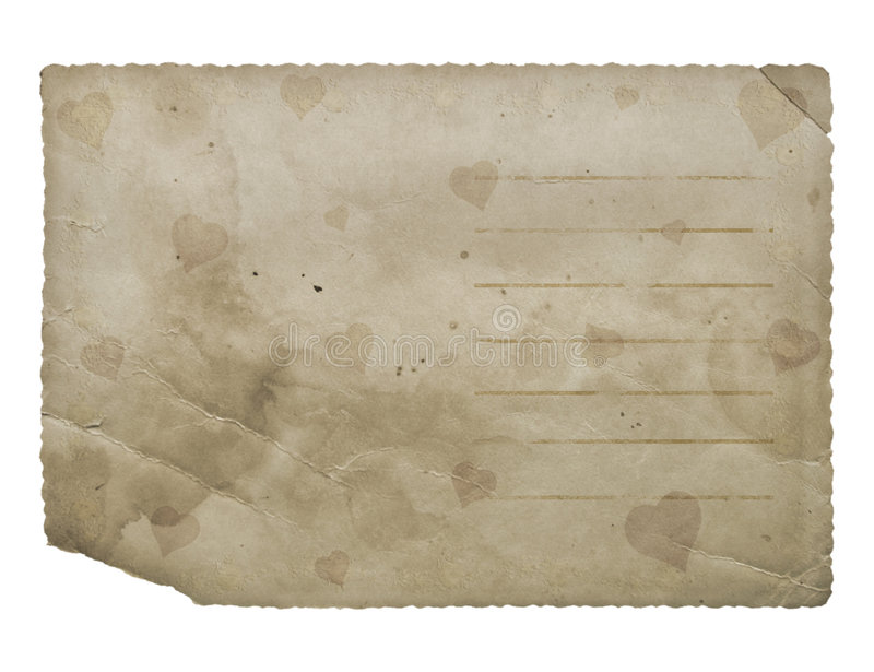 Postcard with hearts. Grunge paper. royalty free stock photos