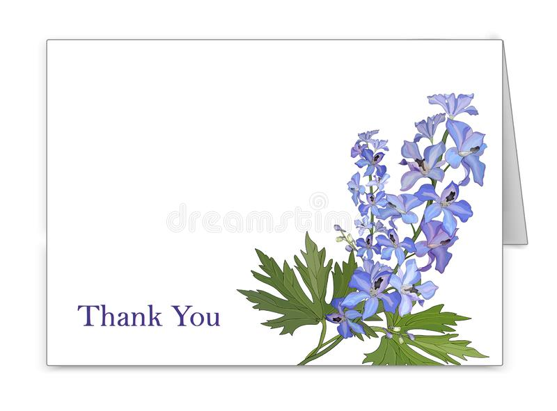 Postcard horizontal with a bouquet of flowers delphinium. Vector royalty free illustration