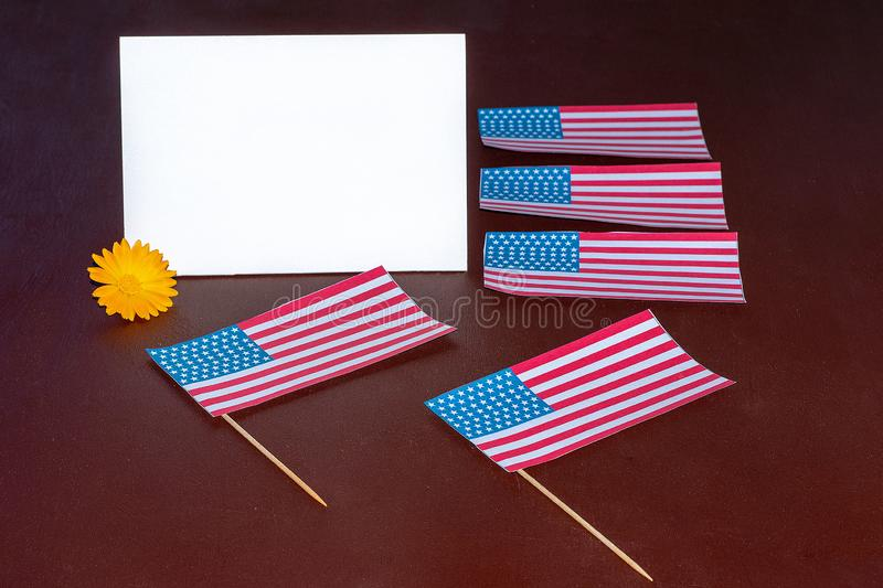 Greeting card for the celebration of President`s Day in America, Veterans Day, Independence Day stock image