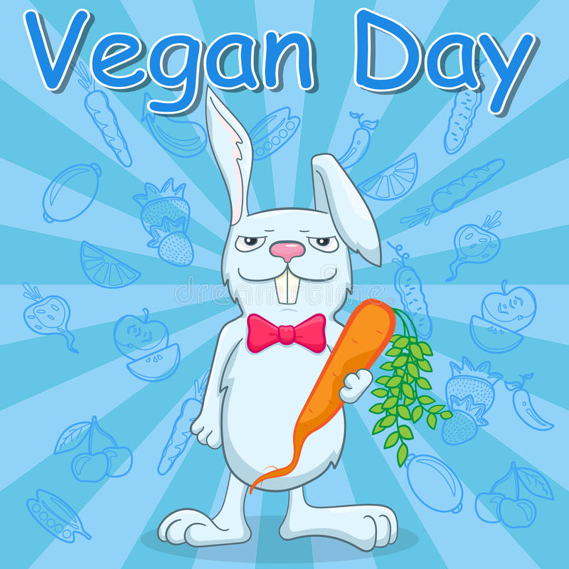 Postcard for the international day of vegetarian , funny rabbit holds a carrot on a blue background with vegetables, a call to be vector illustration