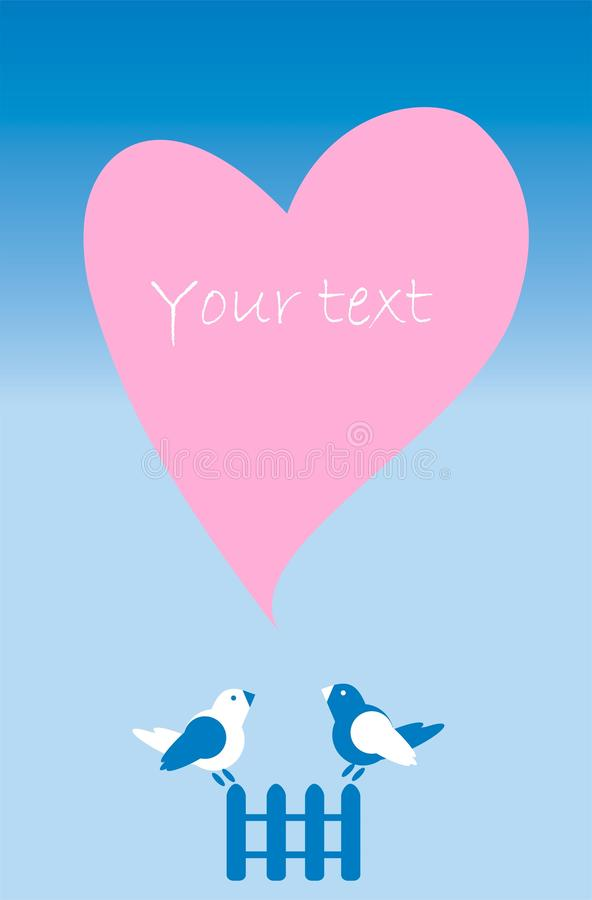 NataVish. Postcard invitation with heart, fence, birds in pink, white and blue on a blue background royalty free illustration