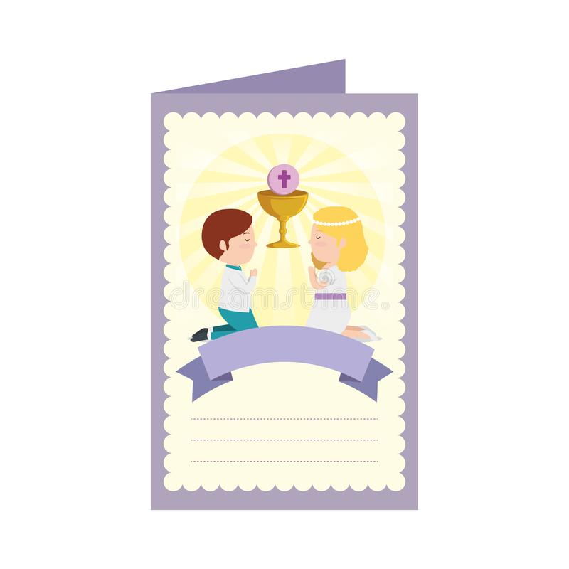 Postcard with kids first communion stock illustration
