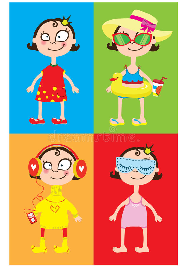Postcard little cute girl in different moment of life royalty free illustration