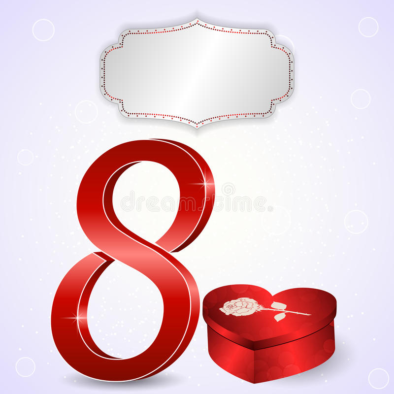 Postcard from 8 March, eight in 3D with a red box in the form of a heart and rose on her tag. royalty free illustration
