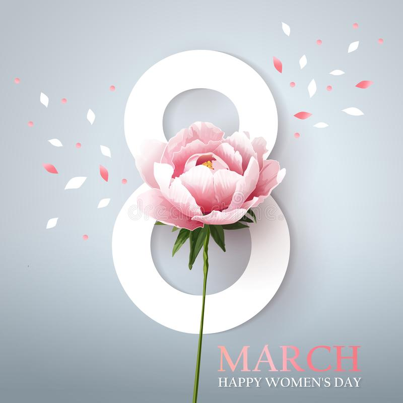 March 8. Happy womens day. Stylish greeting design with peony stock illustration