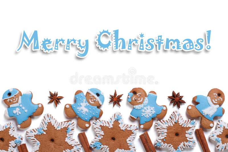 Postcard Merry Christmas Cookies Stock Photos - Image: 35525193