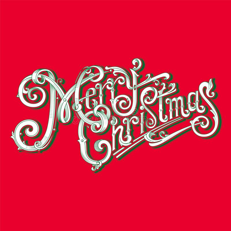 Merry Christmas logo vintage image. On red background. Postcard Merry Christmas! A great gift to friends and family. Stylish retro image stock illustration